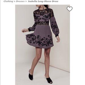 For love & lemon Isabella dress M grey embroidered